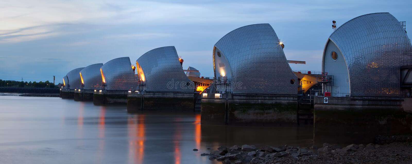 Download Low Tide At The Thames Barrier Stock Image - Image: 15174777