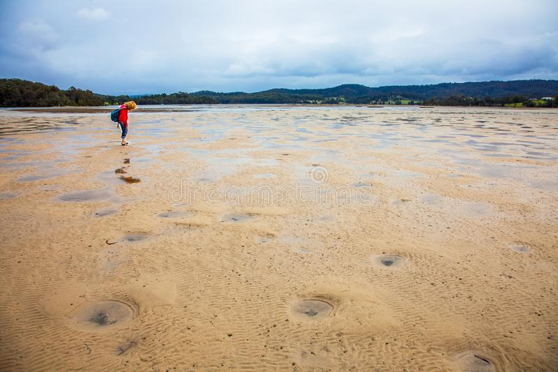 At low tide at Wallaga Lake in Narooma Australia. New South Wales stock photo