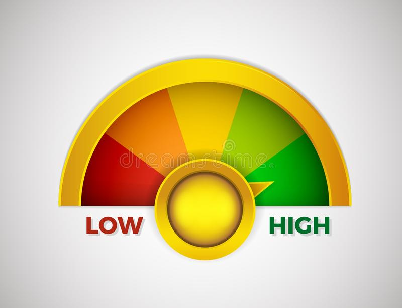 Low to High meter rate with colors from red to green. Vector illustration design from worst to best gauges. 3D style royalty free illustration