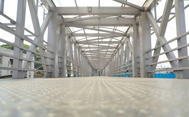 Low view angle Steel flyover passage way or bridge at Bengaluru, India.  stock photos