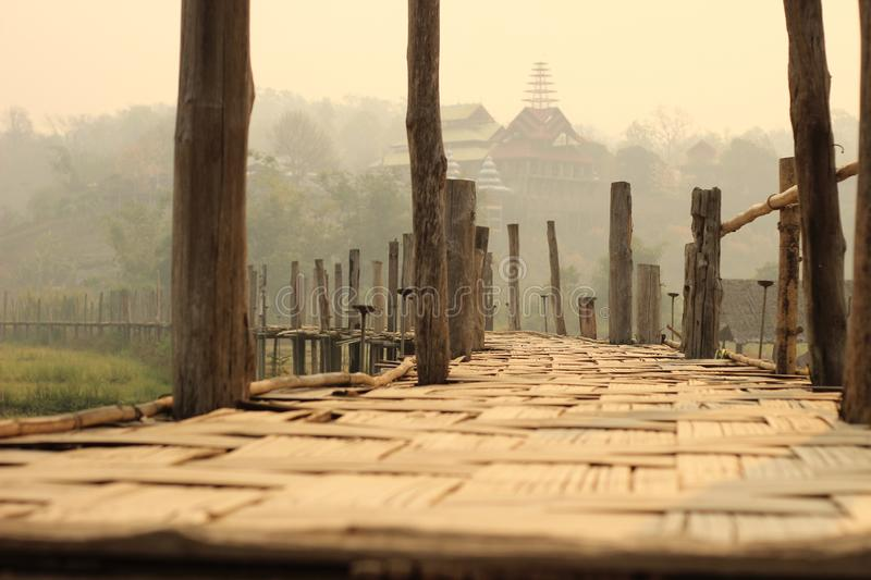 Low view of the bamboo matting and textures on an early morning at a famous tourist location bamboo bridge, Mae Hong Son, Northern. Thailand, Southeast Asia royalty free stock photo