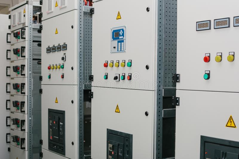 Manufacture of low-voltage cabinets. Modern smart technologies in the electric power industry. The use of electrical royalty free stock images