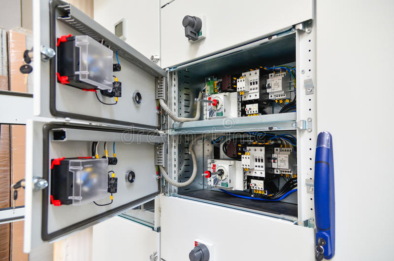 Low-voltage cabinet for power and distribution electricity royalty free stock photos