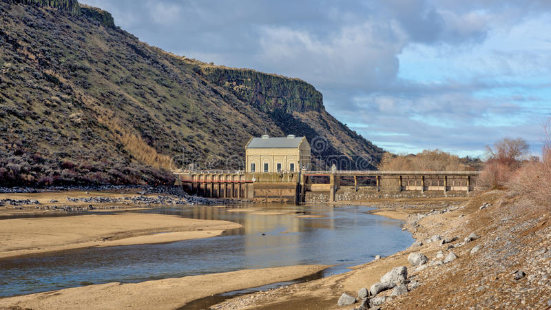 Low water season for a Diversion Dam in Idaho royalty free stock image