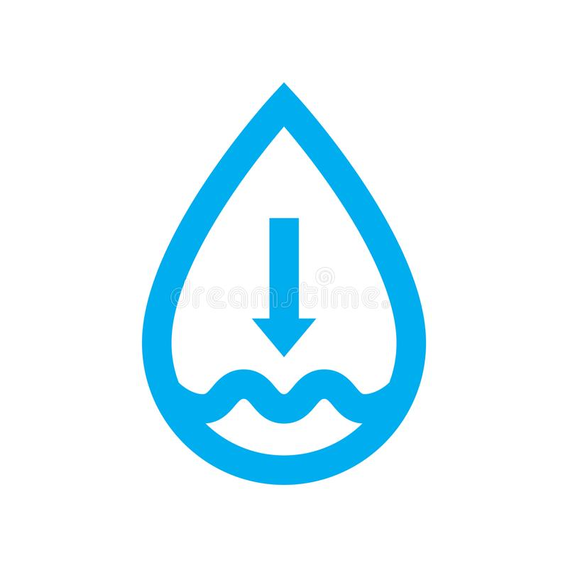 Low water supply level icon. Blue water drop shortage symbol vector illustration