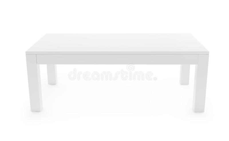 White table isolated on white with clipping path included. 3D rendering image. Low, white table isolated on white background. Saved clipping path included. 3D vector illustration