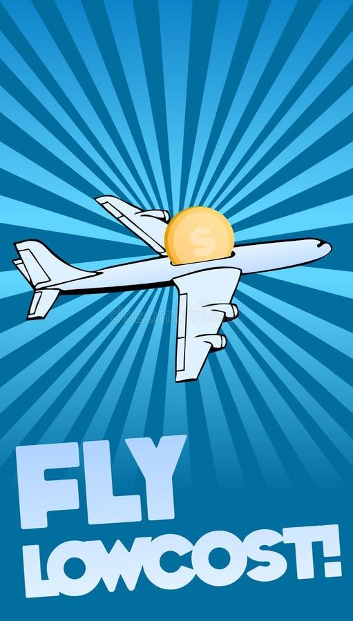 lowcost flygplanbakgrundsfluga stock illustrationer