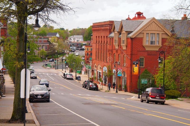Lowe histórico Mills Area en Milton, mA imagen de archivo