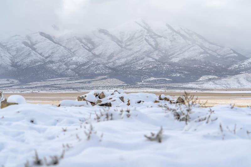 Lowe Peak in Eagle Mountain Utah during winter royalty free stock images