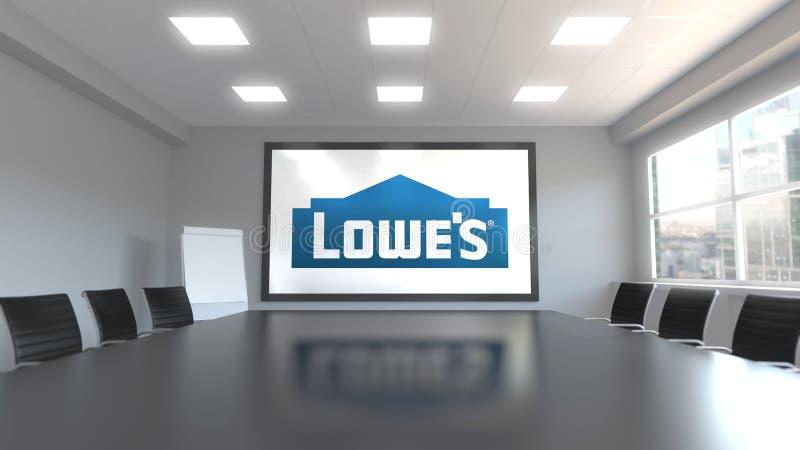 Lowe-` s Logo auf dem Schirm in einem Konferenzzimmer Redaktionelles Wiedergabe 3D ` vektor abbildung