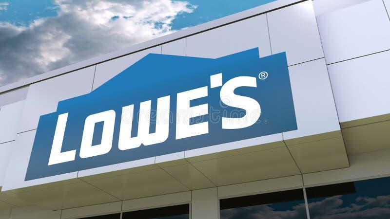 Lowe-` s Logo auf der modernen Gebäudefassade Redaktionelle Wiedergabe 3D stock abbildung