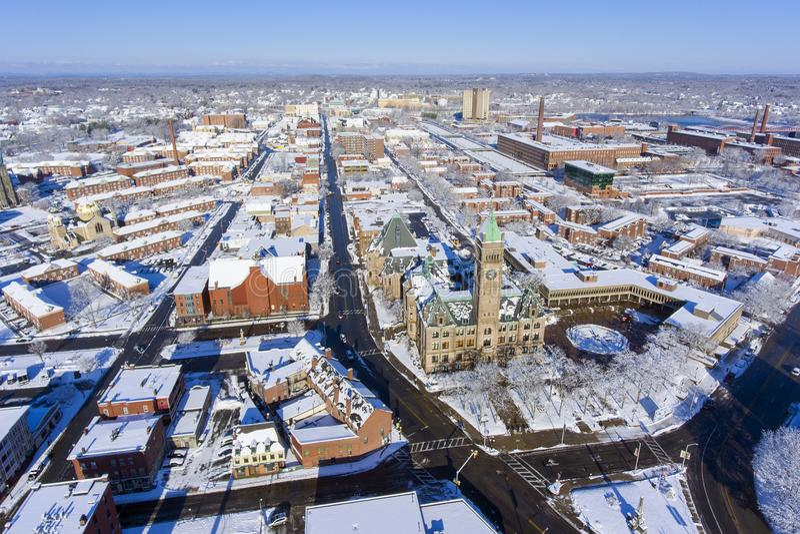 Lowell City Hall-Vogelperspektive, Massachusetts, USA stockfoto