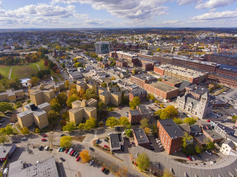 Lowell downtown aerial view, Massachusetts, USA. Lowell historic downtown, Canal, Marrimack River and historic Mills aerial view in fall in Lowell, Massachusetts royalty free stock photos