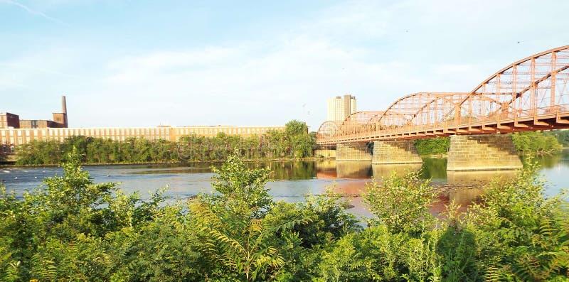 Lowell Massachusetts. Shot of aiken street bridge at merrimack river Lowell Massachusetts royalty free stock photography