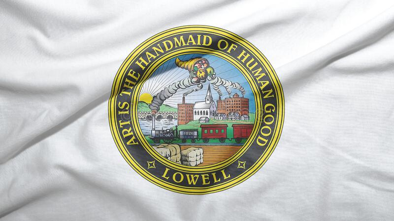 Lowell of Massachusetts of United States flag background. Lowell of Massachusetts of United States flag on the fabric texture background vector illustration