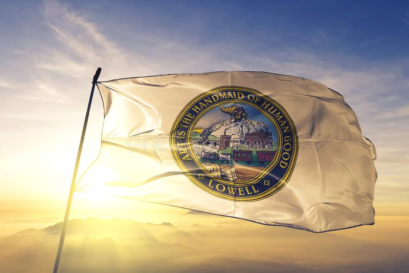 Lowell of Massachusetts of United States flag waving on the top. Lowell of Massachusetts of United States flag waving stock images