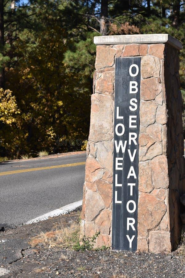 Lowell Observatory tecken royaltyfri fotografi