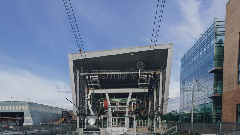 Lower aerial tram station in the South Waterfront districtt, Portlan, USA royalty free stock photo