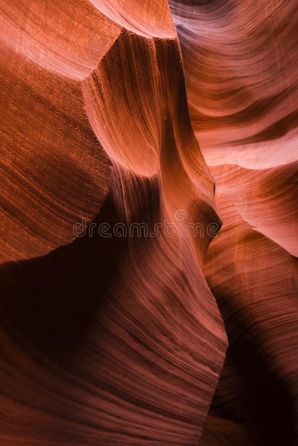 Lower Antelope Canyon with bizarre forms of red sandstone washed stock images