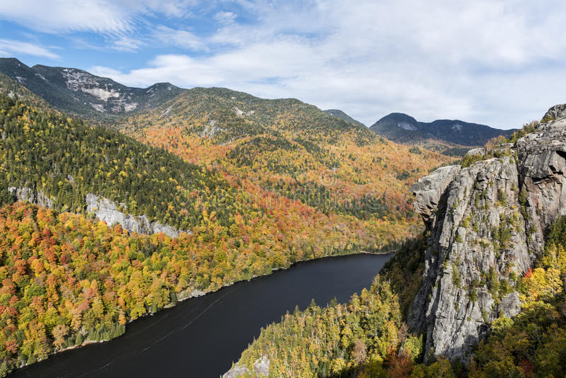 Lower Ausable Lake and Adirondack Mountains stock images