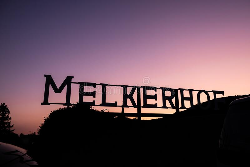 Beautiful view of the Melkerhof sign in the evening at Gumpoldskirchen, a famous place stock photography