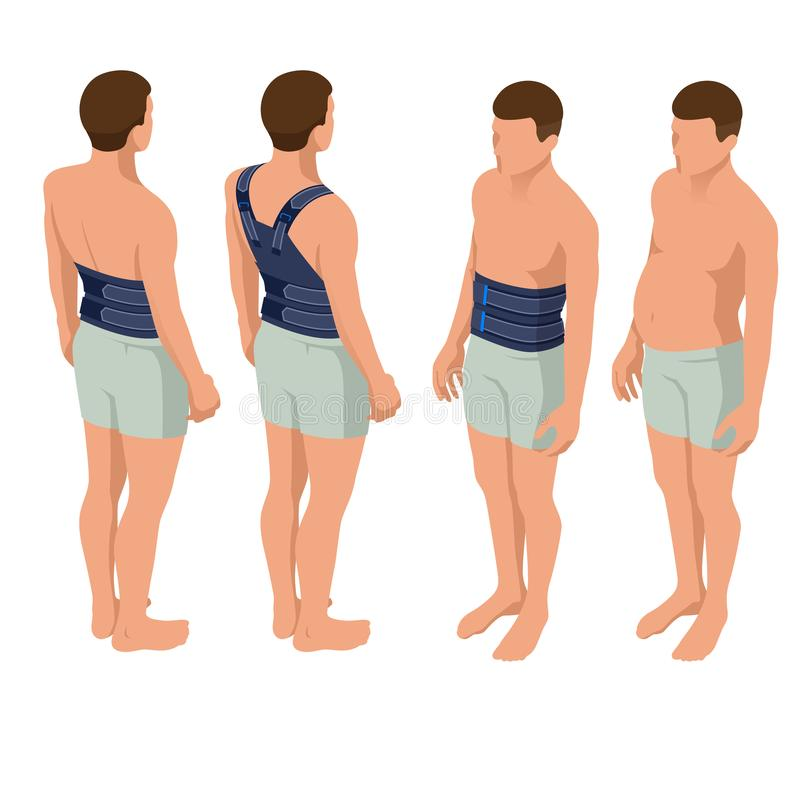 Lower back pain or Spine pain, osteoporosis. Immobilizer. Anatomical body of a man. Rehabilitation after trauma. Orthopedics and medicine. Isometric Vector vector illustration