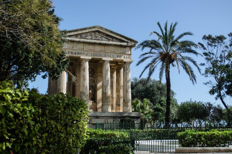Lower Barrakka Gardens. Sir Alex Ball Memorial Lower Barrakka Valletta, Malta royalty free stock images