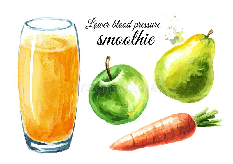 Lower Blood Pressure smoothie with Apple, pear and carrot set. Watercolor hand drawn illustration, isolated on white background stock photography