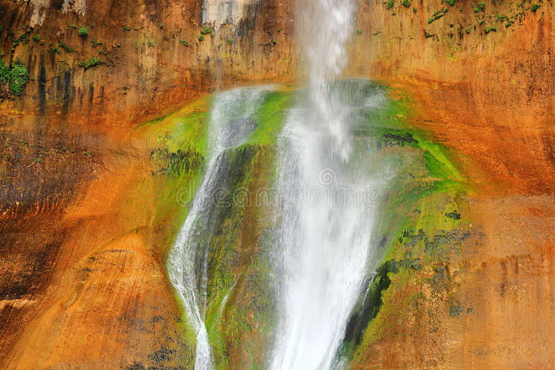 Detail of Lower Calf-Creek Falls in Escalante National Monument, Utah stock photos