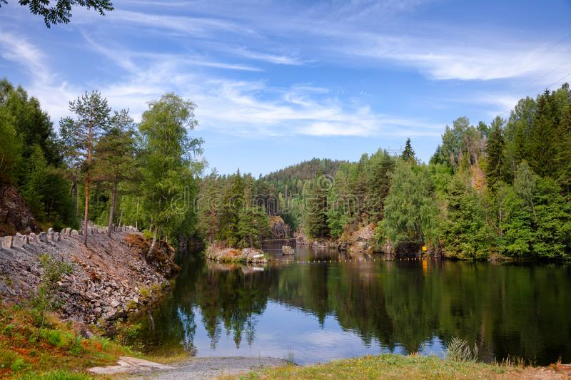 Lower canal of Vrangfoss lock at Telemark Canal Telemark County. Lower canal, an entrance route to the Vrangfoss lock at Telemark Canal, Telemark County, Norway stock images