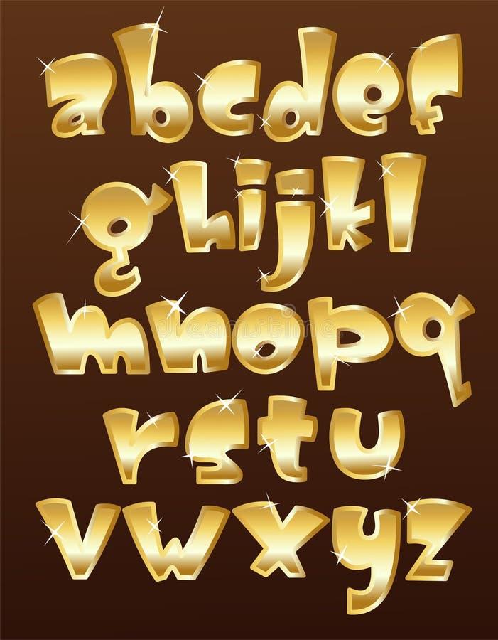 Lower case gold alphabet vector illustration