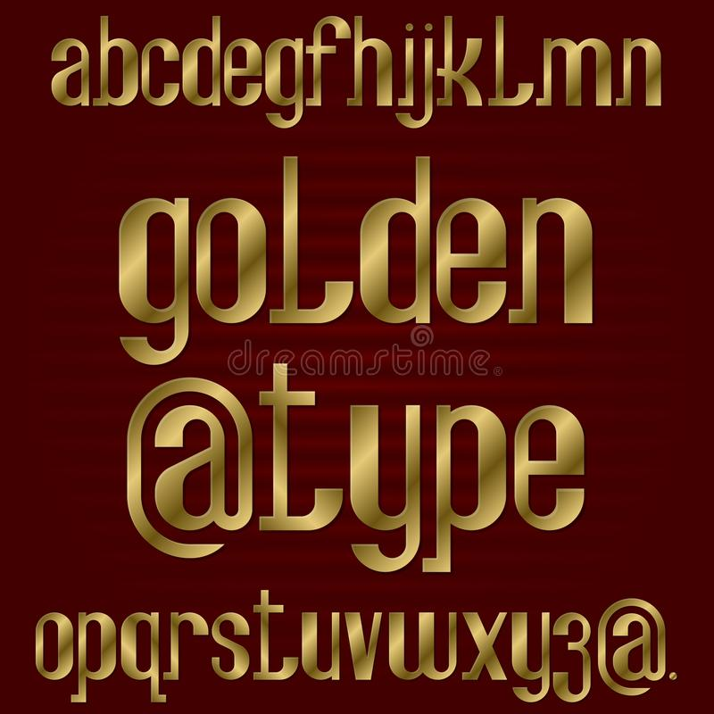 Lower case golden typeface. Gold lowercase letters font. Isolated english alphabet royalty free illustration