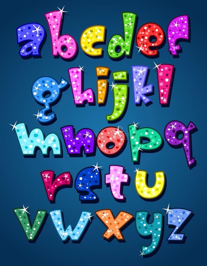 Lower case sparkling alphabet vector illustration