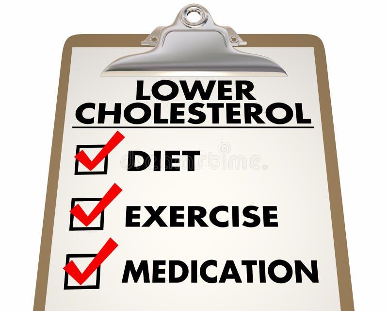 Lower Cholesterol Checklist Diet Exercise Medication 3d Illustration stock illustration