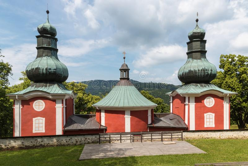 The lower church of late-Baroque Calvary in Banska Stiavnica, Slovakia royalty free stock photo