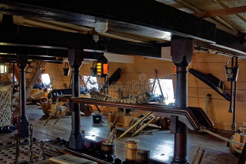 Lower Deck on Sailing Ship stock images