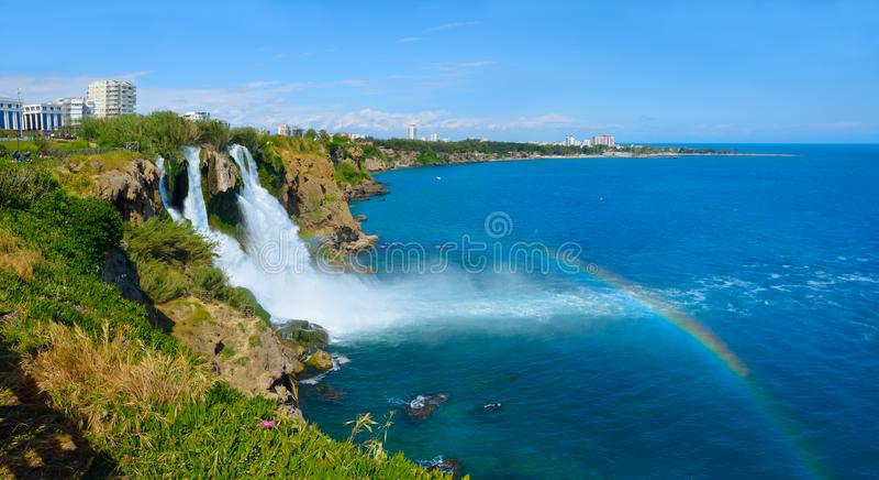 Lower Duden waterfall, Antalya. Lara region. Panorama stock images