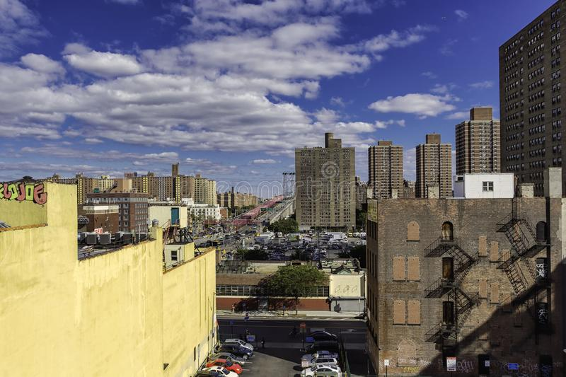 Lower East Side and Manhattan bridge view from the rooftop royalty free stock images