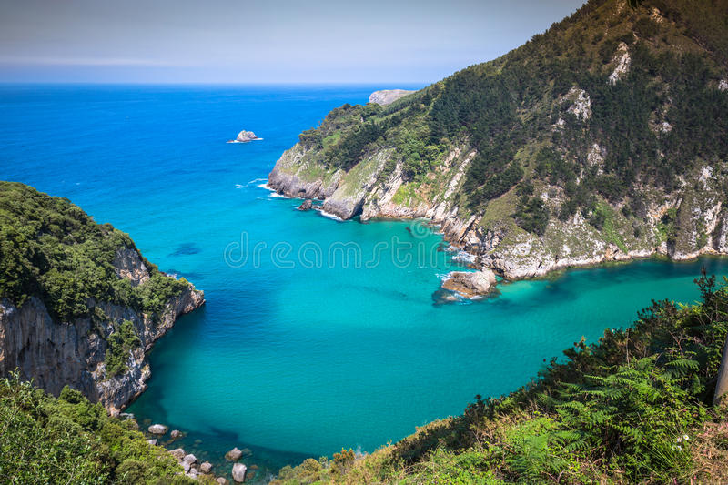 Lower Estuary from the Mirador Tina Minor. Municipality of Val d. E San Vicente, Cantabria stock photo