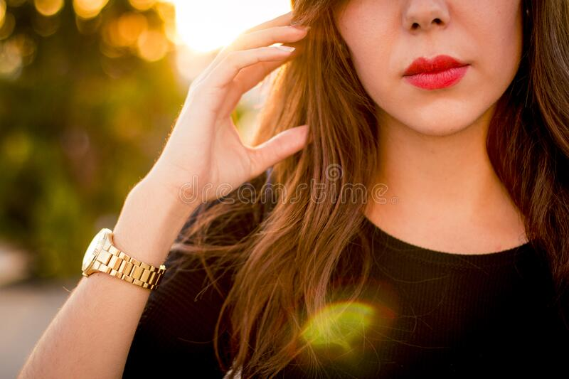 Lower face of beautiful young woman stock image