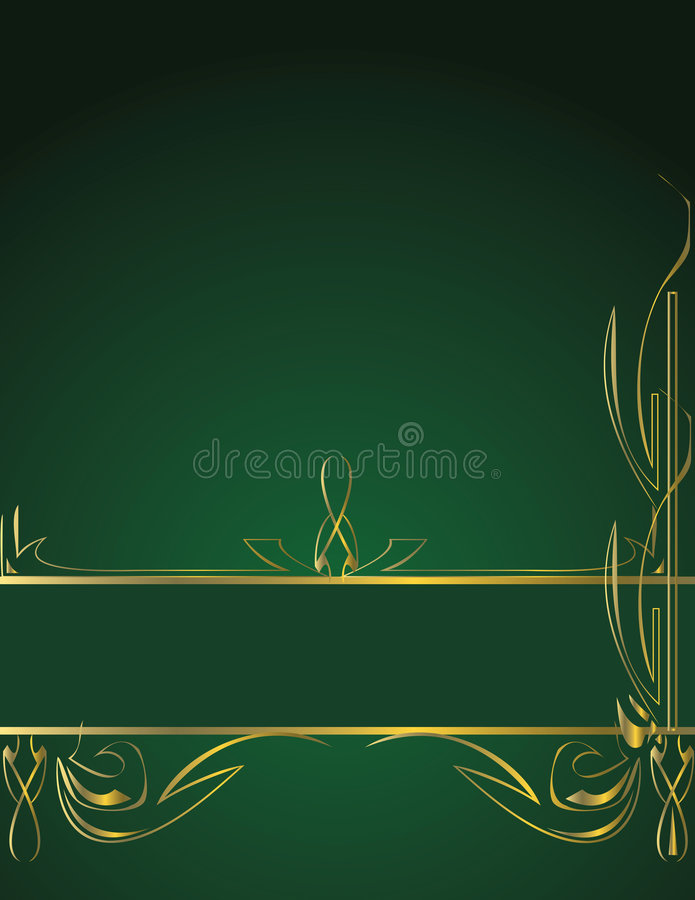 Lower gold green banner on green background royalty free illustration