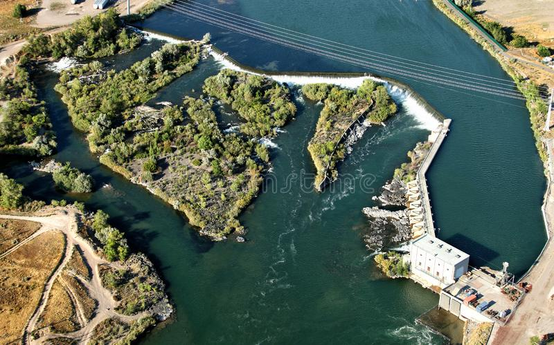A hydroelectric dam on the Snake River in Idaho Falls, Idaho. The lower hydroelectric dam on the Snake River near Idaho Falls, Idaho, USA royalty free stock image