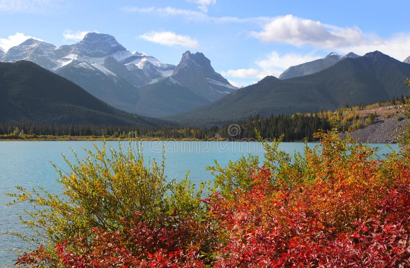 Lower Kananaskis lake in Alberta Canada stock photos