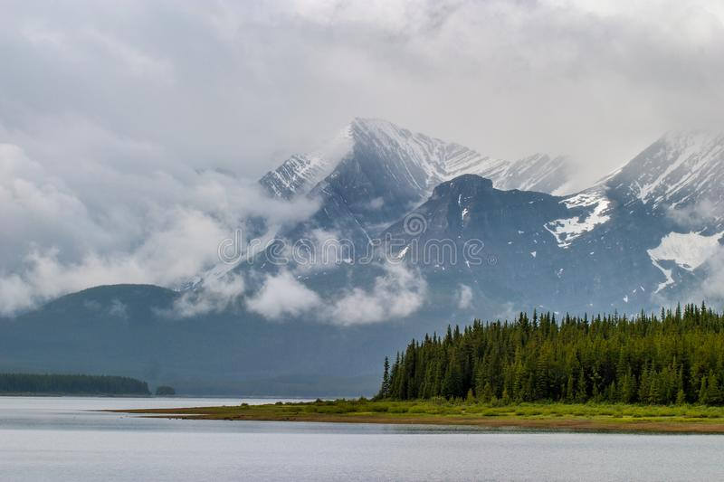 Lower Kananaskis Lake on a stormy day royalty free stock images