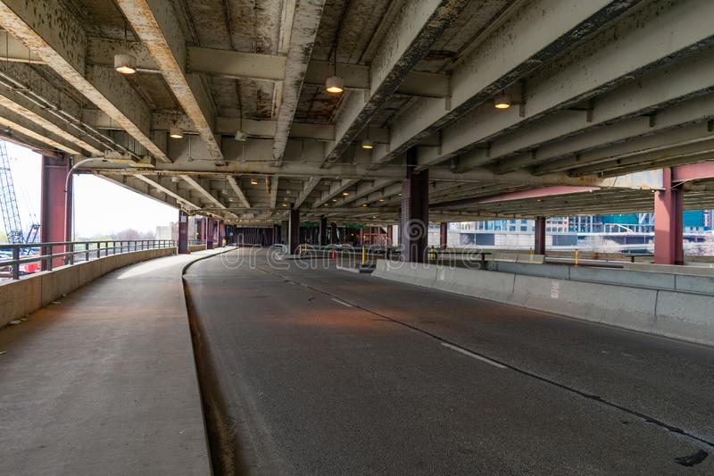 Lower Lake Shore Drive en Chicago sin coches foto de archivo