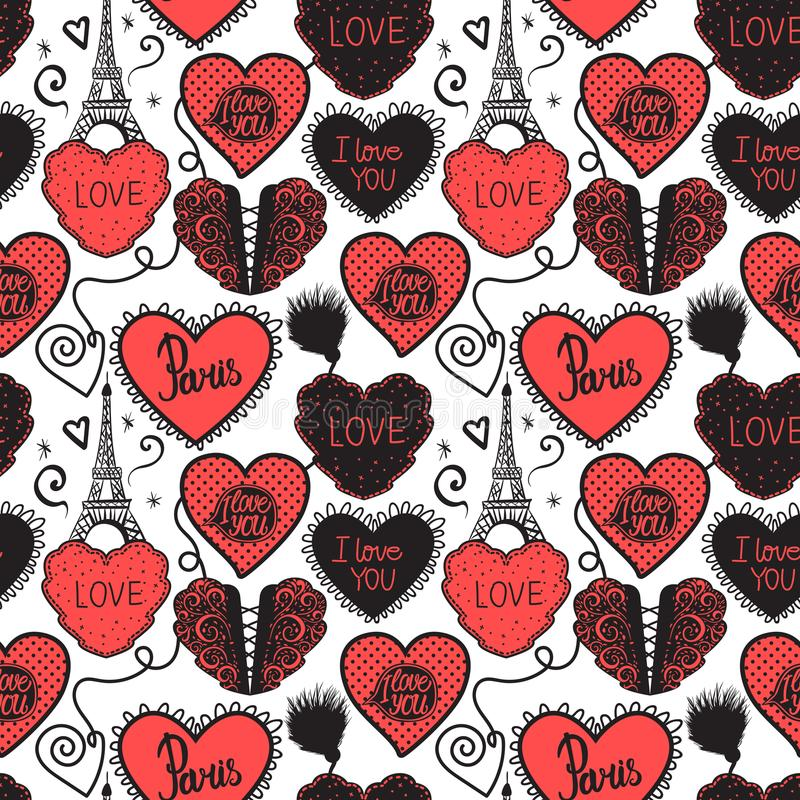 Hand drawing Love in Paris. Lower lingerie and the Eiffel Tower. Seamless pattern red isolated on white background. royalty free illustration