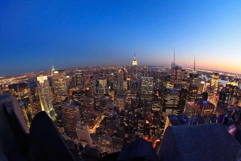 Lower Manhattan bij schemer royalty-vrije stock fotografie