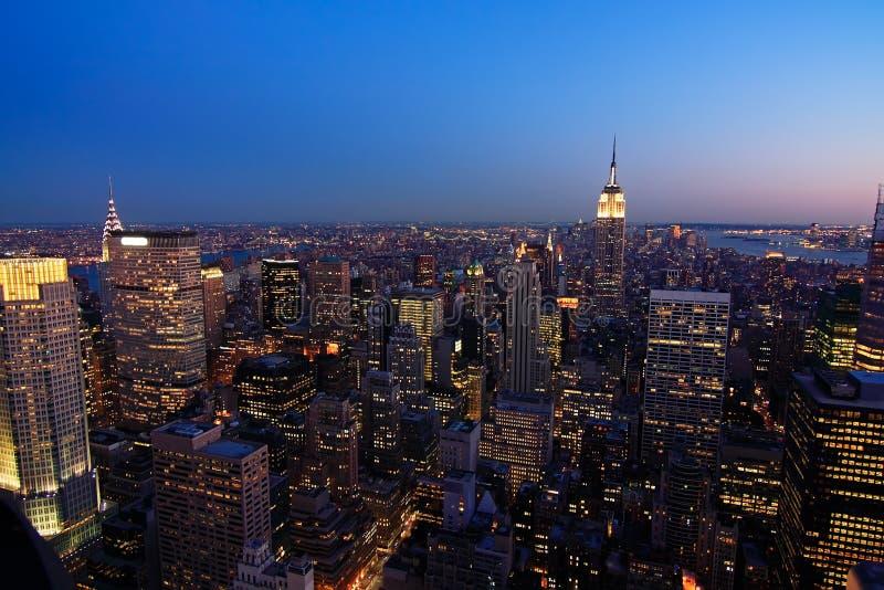 Lower Manhattan bij schemer royalty-vrije stock afbeeldingen