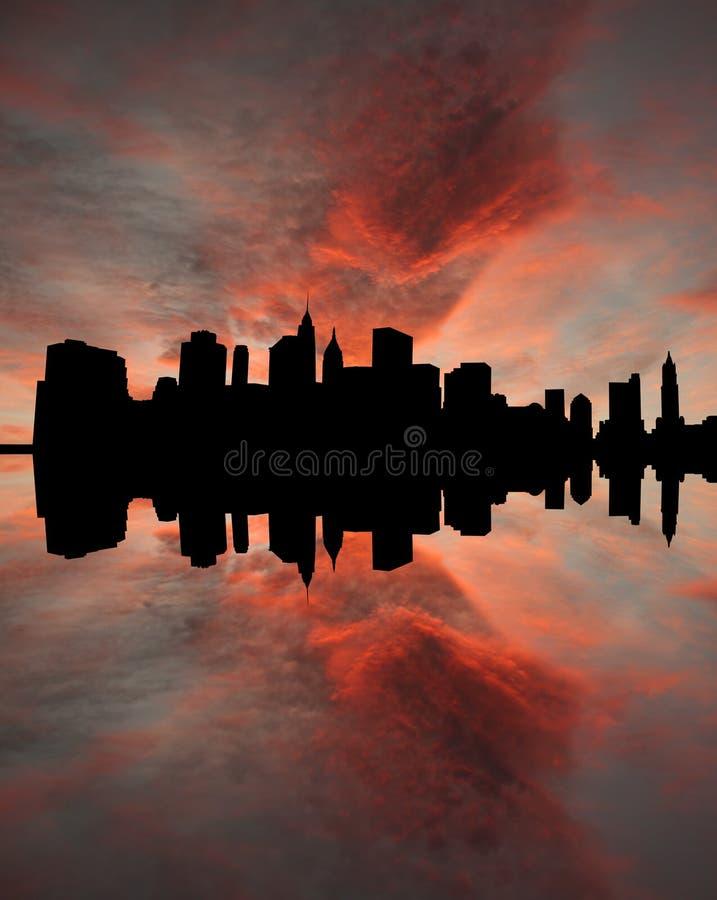 Lower Manhattan bij zonsondergang royalty-vrije illustratie