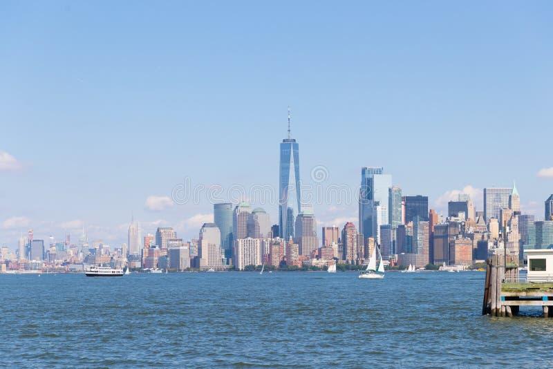Lower Manhattan bij zonsondergang van Hoboken, New Jersey wordt bekeken dat royalty-vrije stock foto